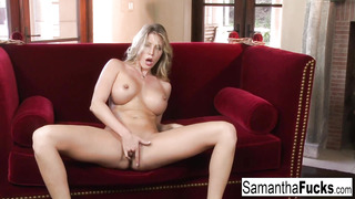 Samantha Frigs Her Cock-Squeezing Humid Cooter