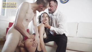 PASCALSSUBSLUTS - Youthful Big-Boobed Francys Belle Predominated by two Fellows