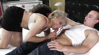 Platinum-Blonde mature is inhaling her paramour's jizz-shotgun to make it stiff enough for her furry