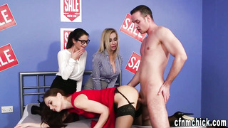 Cfnm stunner publicly humped by client