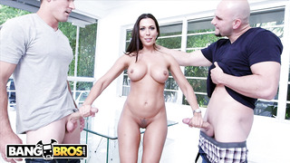 Dark-Haired with giant, rigid boobies, Rachel Starr is treating Jmac and Sean, at the same time