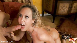 Extraordinaire blond girl with enormous jugs eats and deep-throats stiffy and gets a immense facial cumshot money-shot