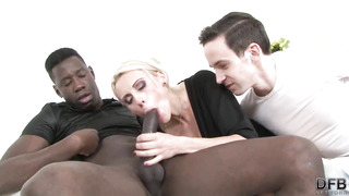 Smoking steamy, platinum-blonde dame is getting tucked with a dark-hued dick in front of her accomplice