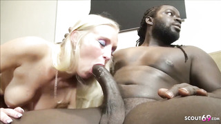 Insane towheaded girl is cuckold on her hubby with a dark-hued man, just for joy