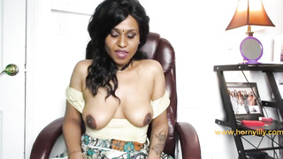Indian doll, Lily is displaying her uber-cute titties in front of the camera, just for joy