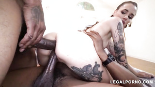 Tatted stunner, Luna Uber-Cute is suggesting her cascading moist puss and culo to some dark-hued fellows