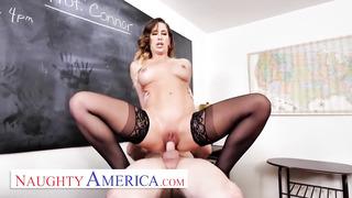 Cherie DeVille bangs schoolgirl in classroom