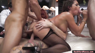 Four babes suck analed and double fucked
