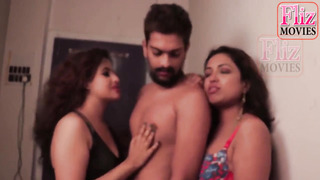 Indian stud with glasses gave currency for fuck-fest and did it with 2 smoking steamy chicks