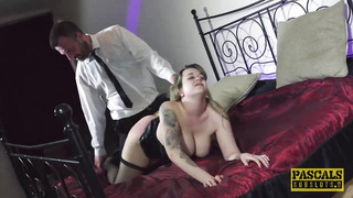 Chubby babe with big boobs, Madison Stuart is wearing stockings and getting fucked better than ever