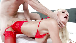 Olivia Blu is a super-naughty mature who looks sofucking sizzling in glamour, crimson underwear