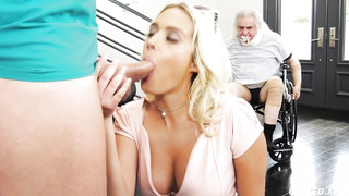 Big-Chested light-haired tears up a masculine nurse in front of her sugardaddy