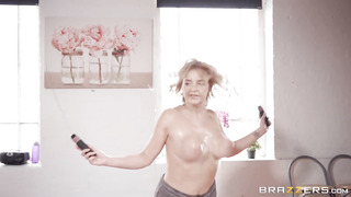 Horny yoga featuring a ash-blonde sweetie with large boobies